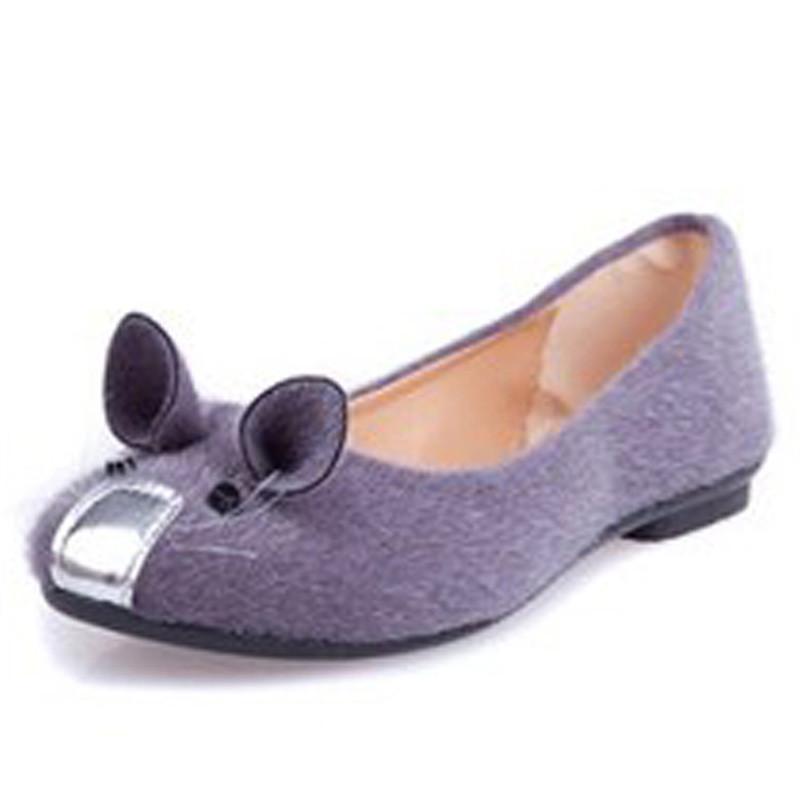 春夏老鼠卡通平底鞋女可爱学生鞋平跟舒适豆豆鞋yzl-sg-618 紫色 36码