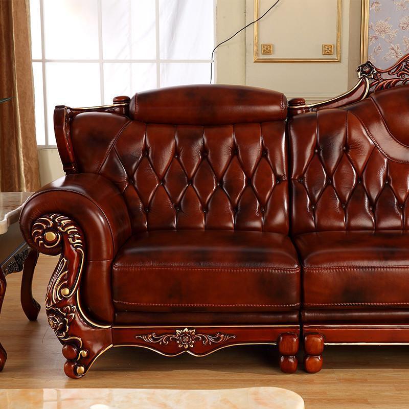 摩力克 欧式真皮沙发 美式乡村小户型皮艺沙发 进口牛皮实木转角沙发