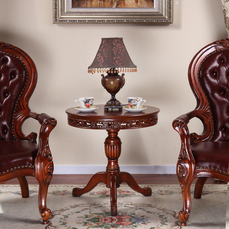 雅居格 欧式洽谈小圆桌圆几实木客厅阳台美式休闲咖啡桌pd210现货