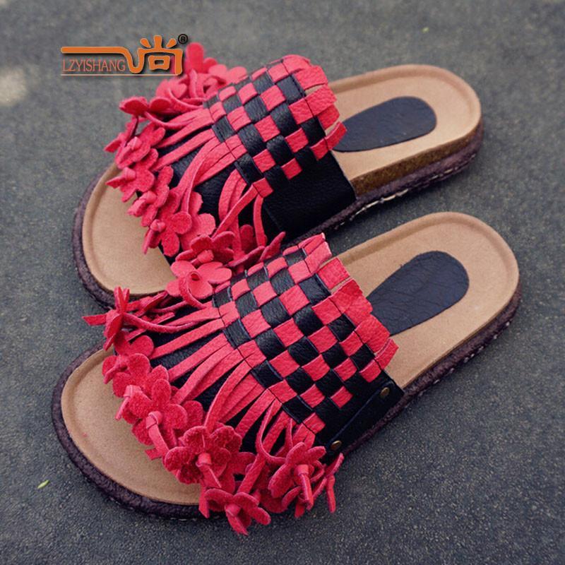 一尚 纯手工缝制红色拖鞋女手工编织真皮女鞋平底女凉拖鞋 s813 红色