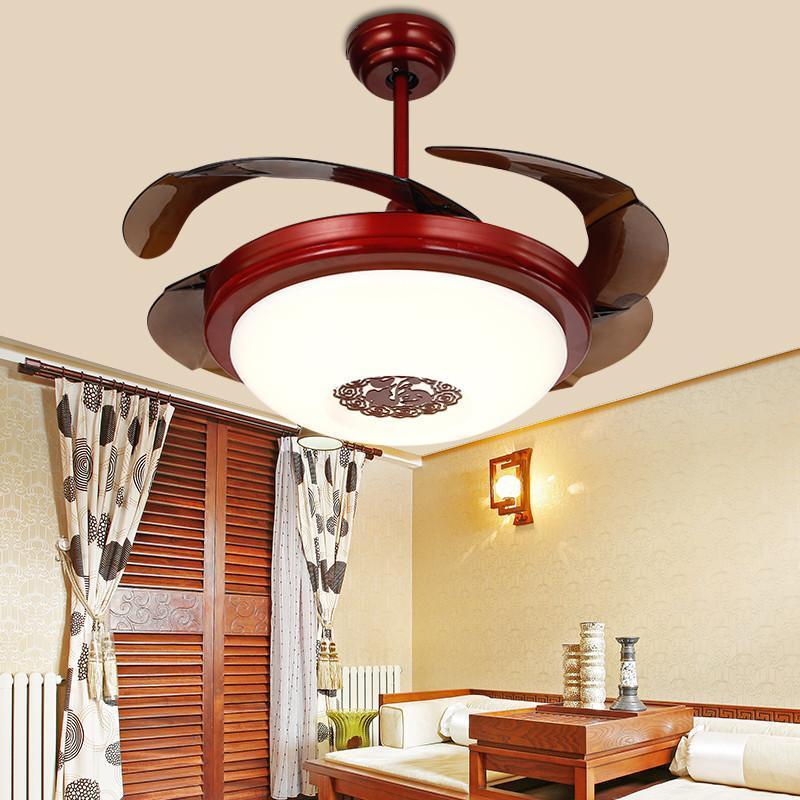 中式仿古隐形风扇灯 欧式带led风扇吊灯餐厅客厅复古