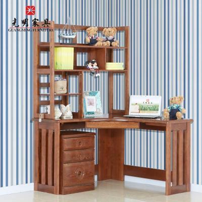 光明家具 水曲柳全实木转角书桌书架组合 现代中式实木家具写字桌398图片