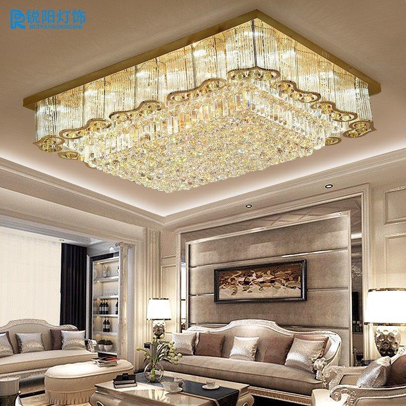 锐阳金色长方形水晶灯欧式客厅灯大气led吸顶灯现代大厅工程灯具 550*