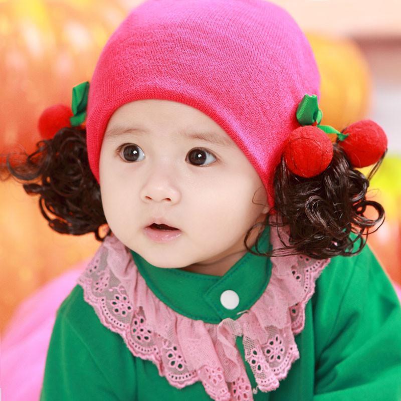 韩国 儿童婴儿假发帽子0-1-3岁春秋季新款小孩套头 新生儿女宝宝 樱桃