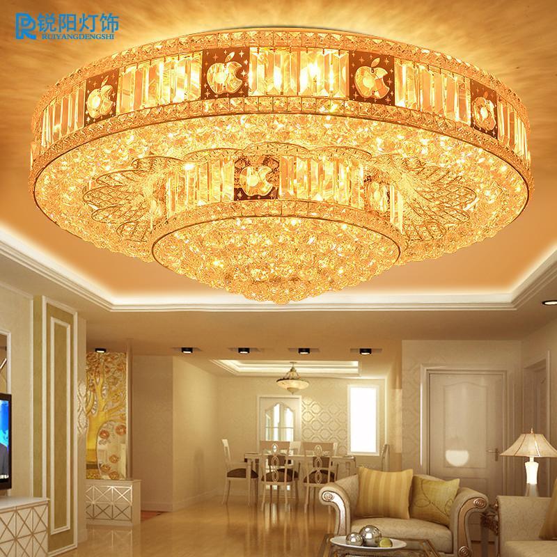锐阳现代客厅灯金色圆形水晶灯led水晶吸顶灯卧室灯