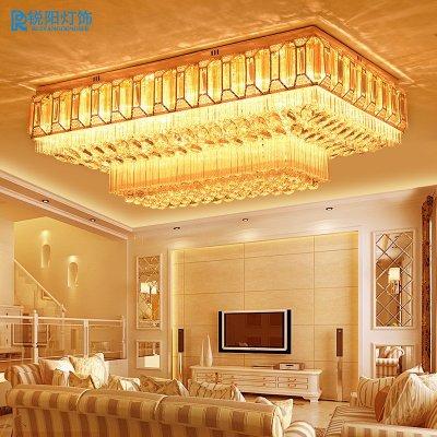 锐阳现代长方形水晶灯欧式大气客厅灯led吸顶灯金色卧室餐厅灯饰灯具