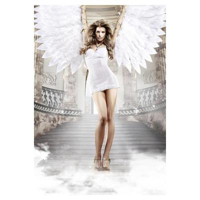 白色薄纱蕾丝花边透视露臀短裙