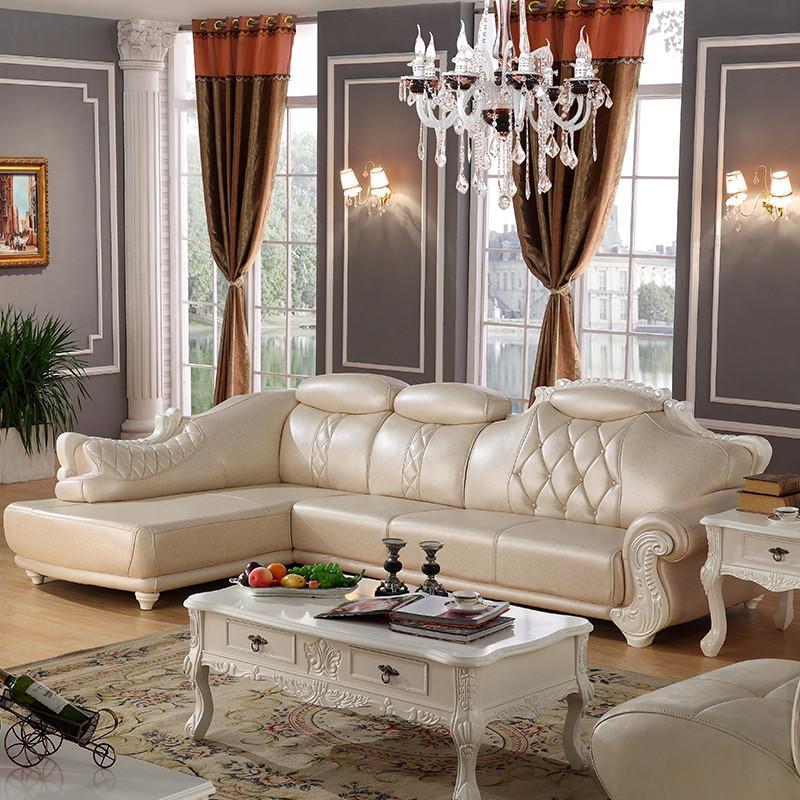 摩力克 真皮沙发 小户型欧式转角沙发组合 美式乡村牛皮沙发 两色可选