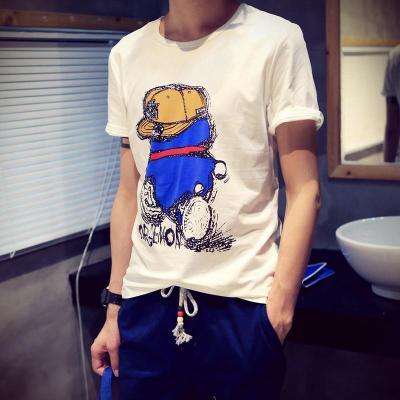 丹杰仕 个性卡通头像印花男士短袖t恤男夏季拼色日系短袖t恤男宽松