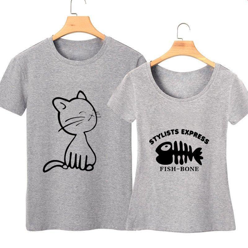 2015夏季短袖t恤猫吃鱼情侣t恤修身图案可爱卡通学生