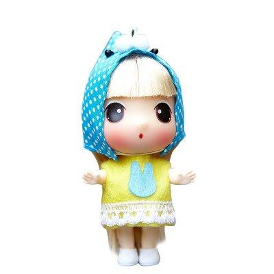 ddung冬己娃娃来自韩国的迷糊娃娃 9cm可爱版实惠装黄衣蓝兔款0901k