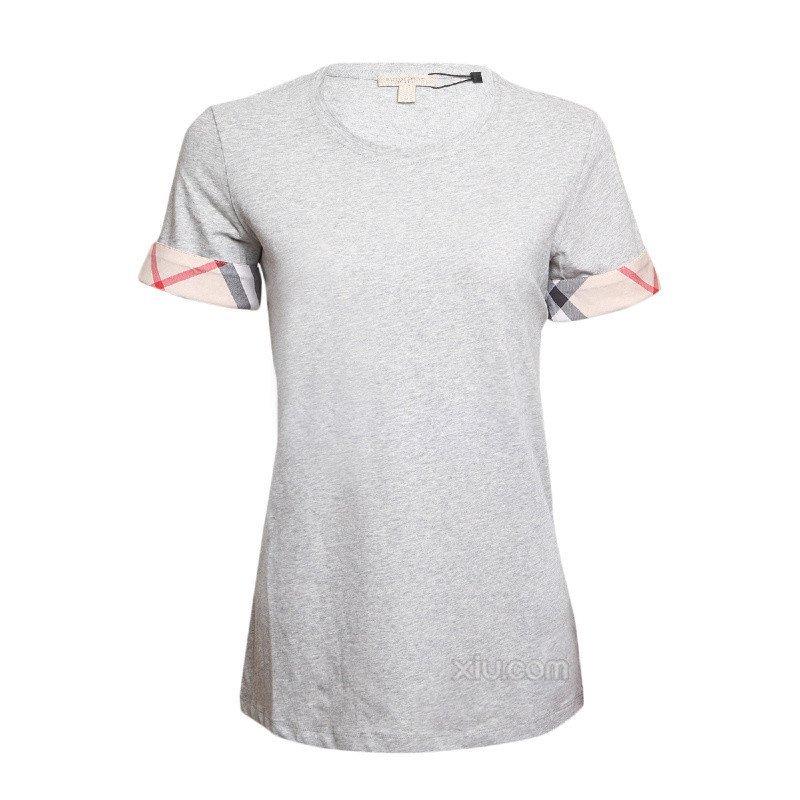 女士t恤镾(����8P_burberry 博柏利 2015春夏 女士圆领简约休闲短袖t恤 灰色 l