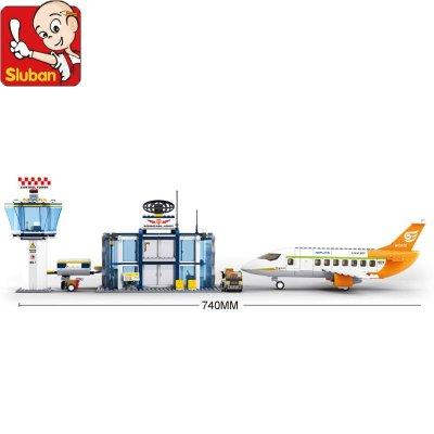 小鲁班飞机场景拼装 儿童城市积木塑料拼插玩具 男孩益智5-7岁 国际