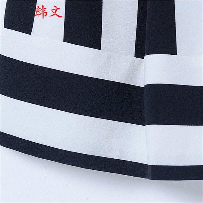 韩文2015明星同款时尚圆领黑白条纹拼接短裙