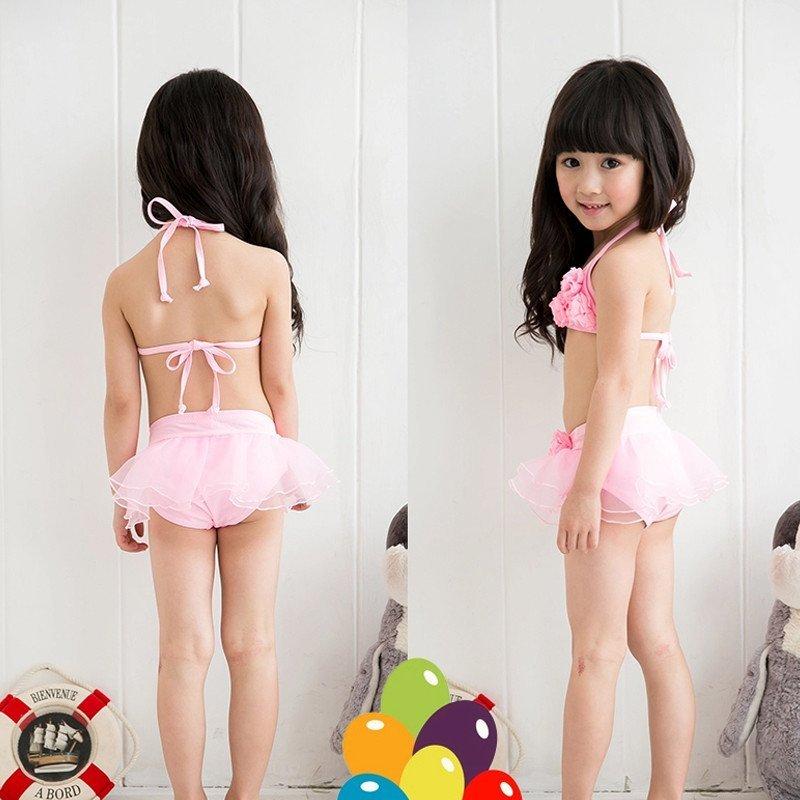 可爱新品宝宝蕾丝女童分体比基尼泳装儿童泳衣 孩子泳装 粉红色 xl