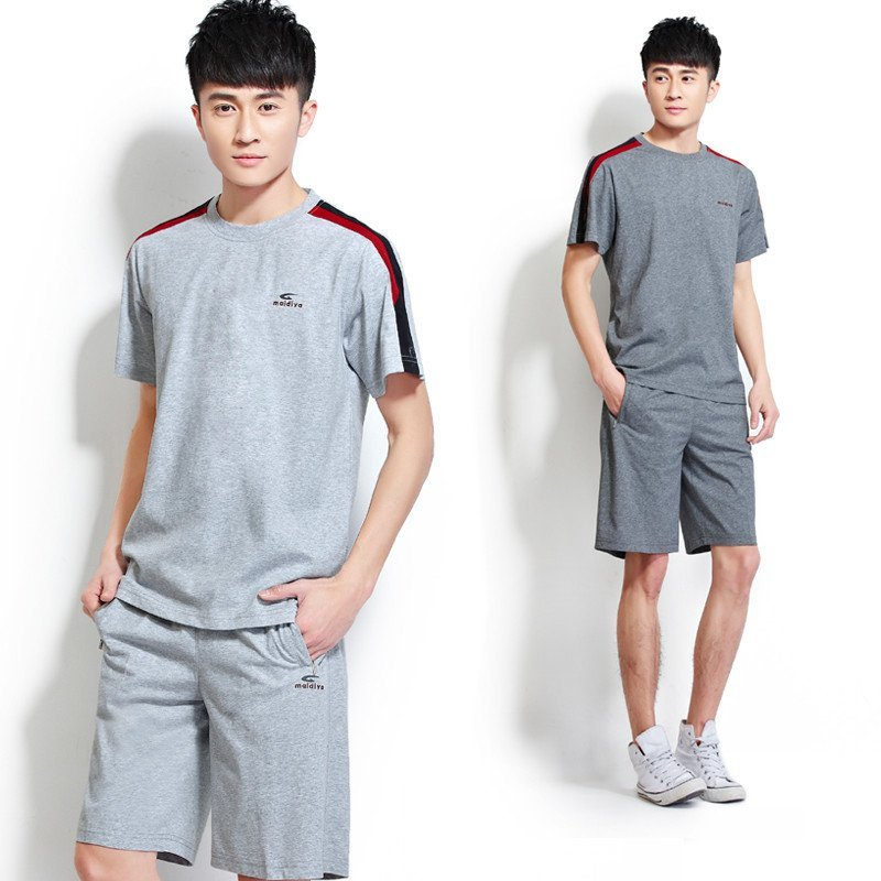 夏季休闲宽松运动装男士运动套装短袖短裤卫衣加肥加大男运动服 灰色