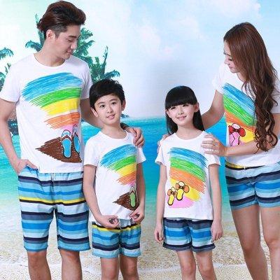 亲子装韩版短袖沙滩装 夏装新款海边度假休闲装 c-agency童装