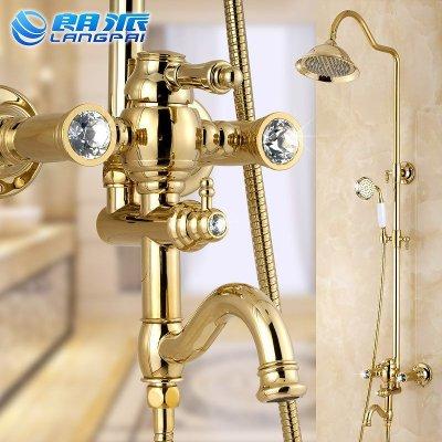 朗派金色花洒 全铜镶钻花洒 朗派淋浴器 水龙头沐浴 欧式淋浴花洒套装图片