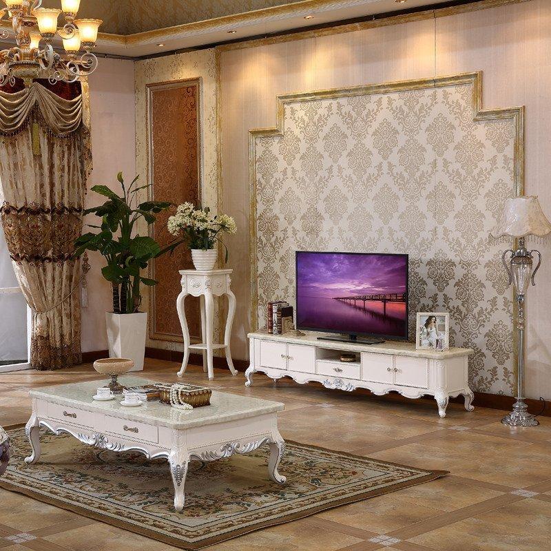 佳宜居 欧式茶几电视柜 大理石烤漆实木雕花描银 客厅小户型茶几电视