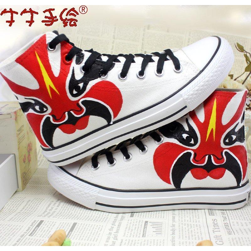 牛牛手绘高帮帆布鞋 女夏民族风京剧脸谱休闲鞋 学生板鞋中国风潮