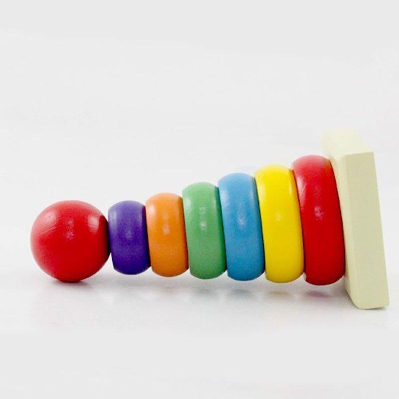 萌贝尔werl 儿童木制叠叠乐彩虹塔 套塔积木不倒翁 小丑堆塔 彩虹套柱