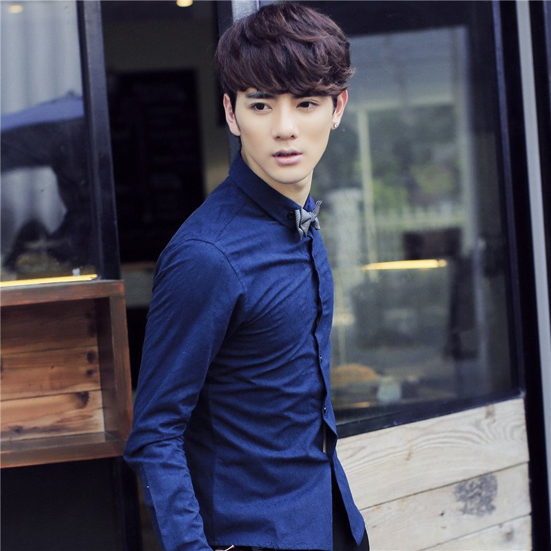 韩文2015新款韩版时尚休闲修身秋装男装纯色长袖衬衫 185/100 天蓝色