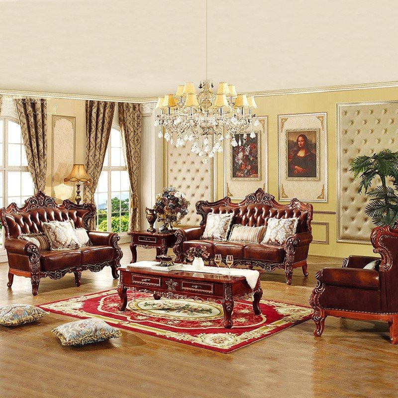 美菲莱 别墅家具 美式实木沙发头层真皮 欧式奢华客厅组合沙发 橡木