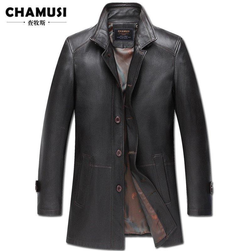 查牧斯 2015秋季新款海寧真皮皮衣夾克男中長款綿羊皮風衣外套修身 l圖片