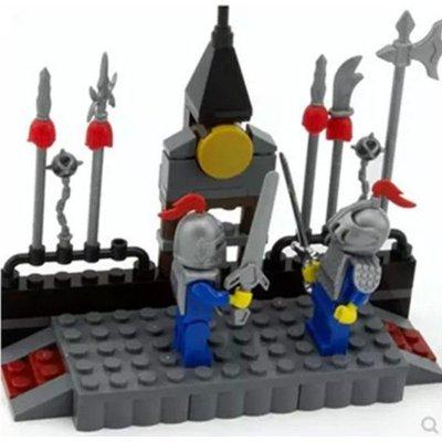 启蒙儿童手工diy拼插塑料积木拼装益智创意玩具狮王城堡骑士系列 练武