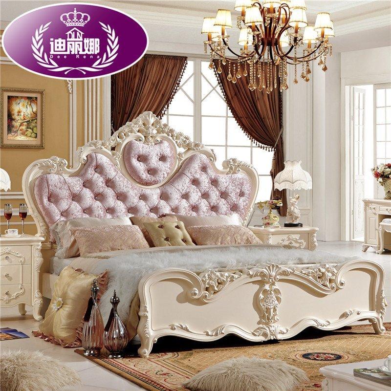 迪丽娜家具 欧式床法式床真皮田园床实木橡木双人床1.8米高箱简易床