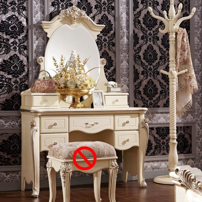 法莉娜 法式梳妆台实木 欧式化妆桌白色妆柜 卧室套房家具 h31