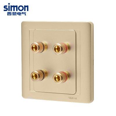 【插座 86】西蒙开关插座面板55香槟金色两位四孔