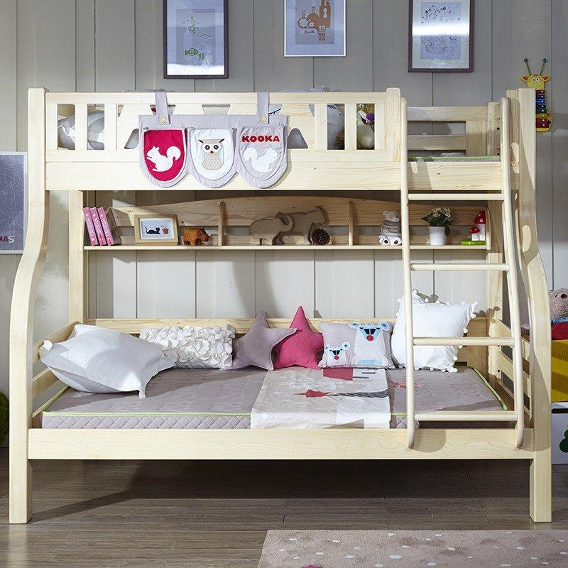 多喜爱儿童实木家具 松木高低床 双层床上下铺 子母床男孩儿童床 高低