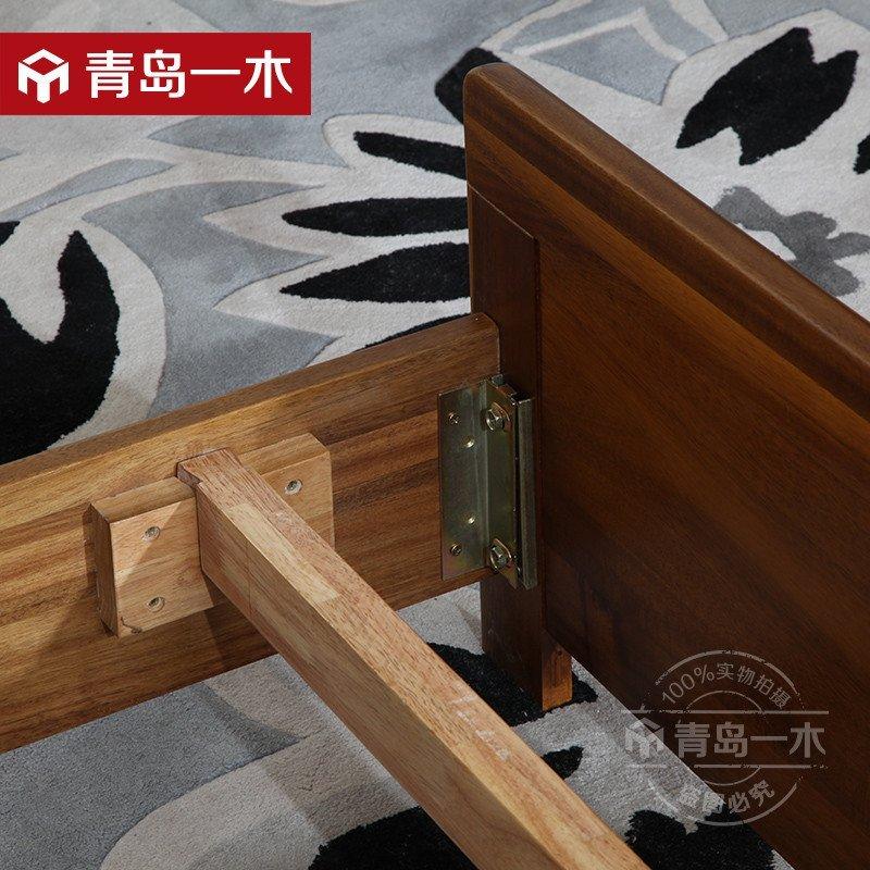 青岛一木 全实木床1.8米胡桃木床 现代中式双人床 高箱体储物床