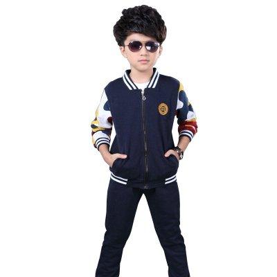 碎花棒球服童装运动休闲儿童套装 150cm(建议身高140厘米左右) 藏青色