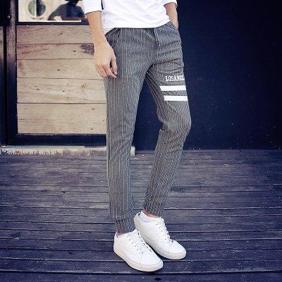 裤卫裤大码男裤条纹潮男个性休闲裤社会精神小伙裤子