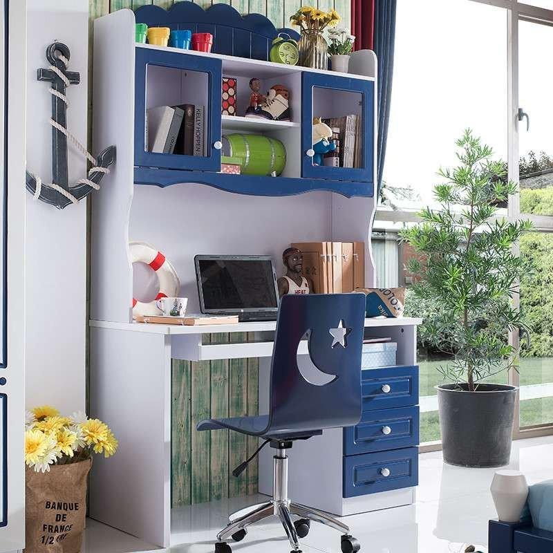 儿童学习桌电脑桌带书架儿童书桌书柜组合欧式
