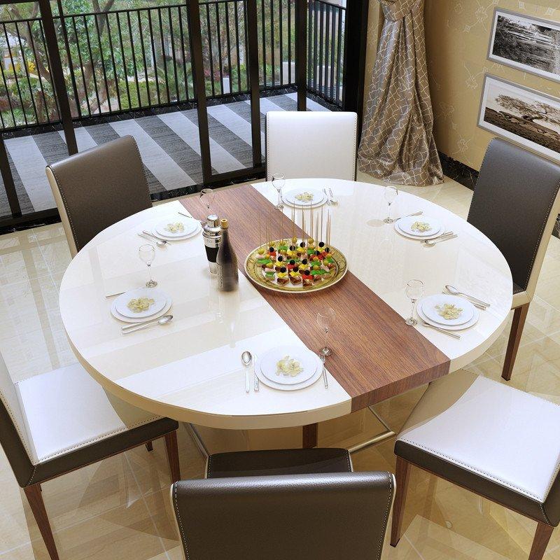 【餐桌 】欧尚杰 现代简约圆餐桌可伸缩折叠圆形餐桌