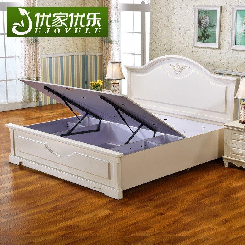 8米欧式高床低箱床卧室家具套装硬板式储物床婚床