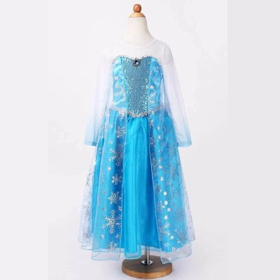 冰雪奇缘艾莎女王礼服裙爱莎安娜公主连衣裙长袖网纱女童长裙表演裙子