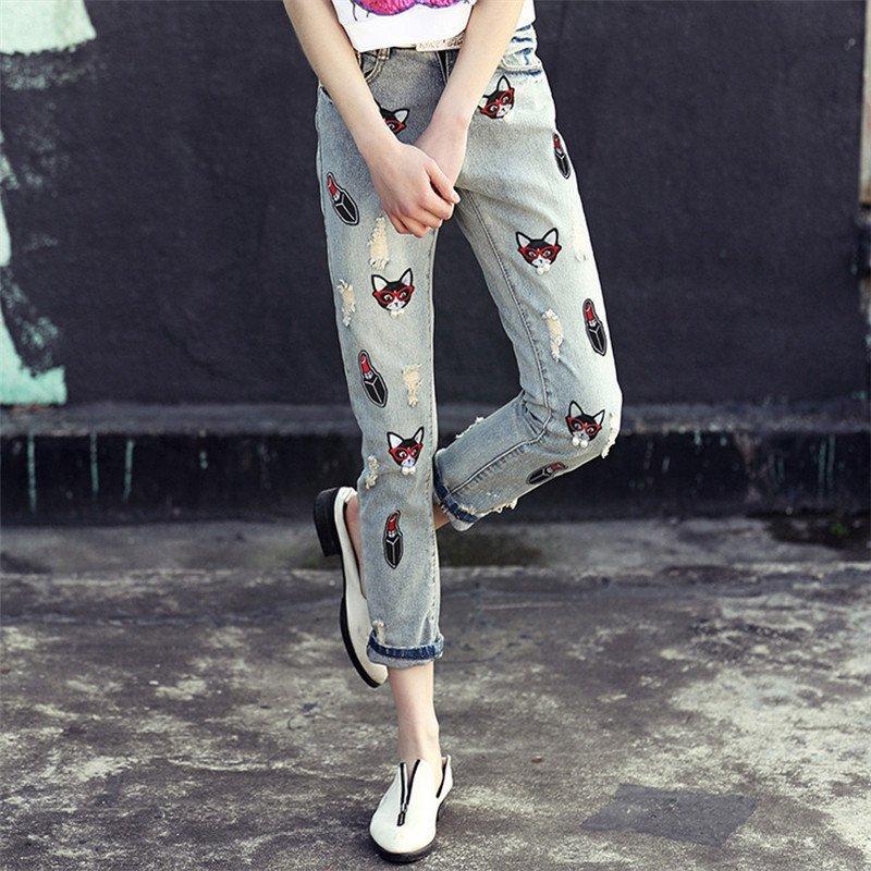【羊致】2015新款动物刺绣牛仔裤宽松小脚哈伦裤