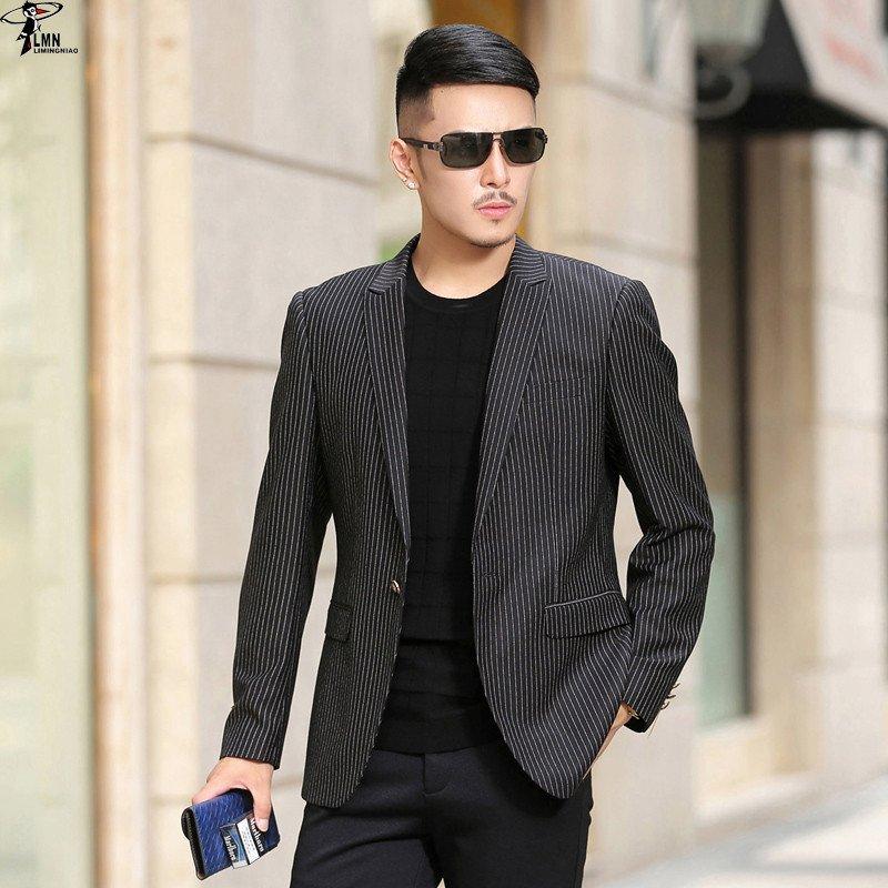 法国啄木鸟男装2015秋季新款男士休闲西服男竖条纹修身型小西装男外套
