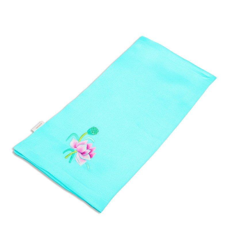 名古绣艺 真丝手帕 手工刺绣 苏绣 双层真丝中国风时尚礼品 蓝绿色