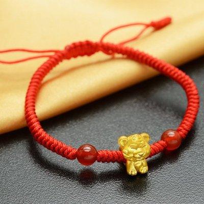 运珠红绳编织手链