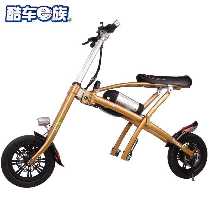 酷车e族 12寸折叠电动自行车锂电池单车成人代步车