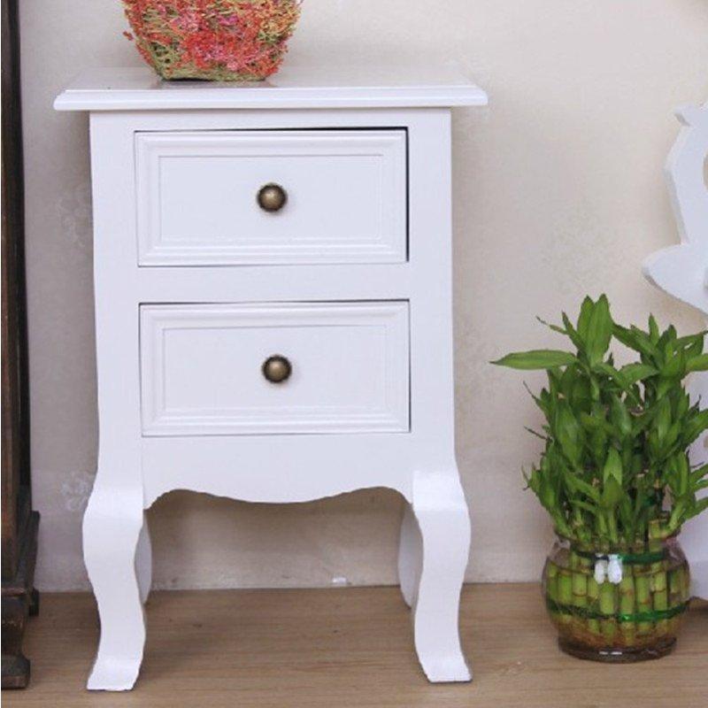 卧室无门收纳柜白色欧式实木床头柜现代简约家具储物
