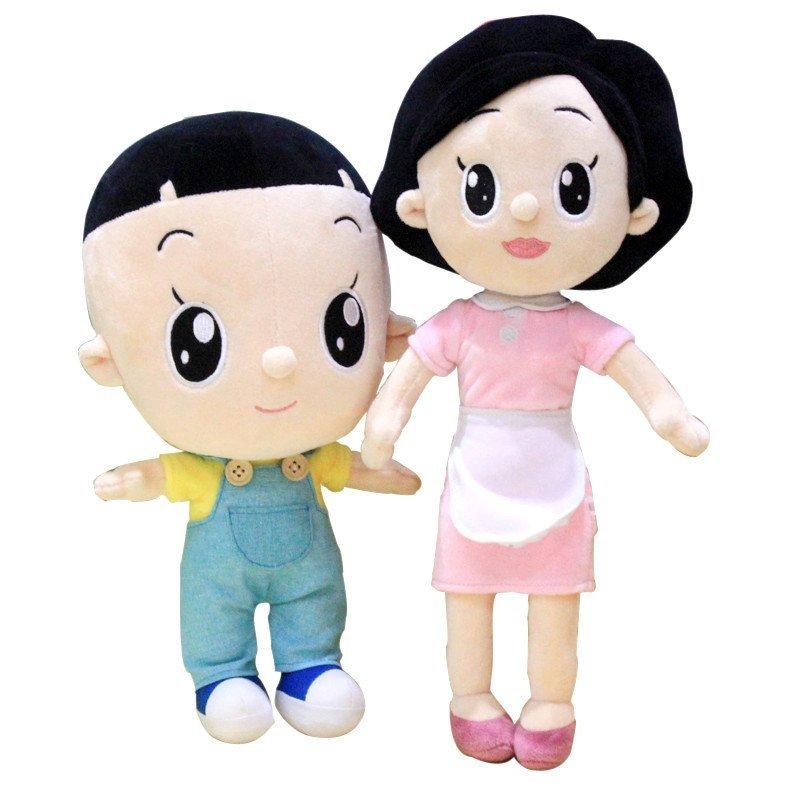 时光小站毛绒玩具大头儿子围裙妈妈小头爸爸玩偶儿童