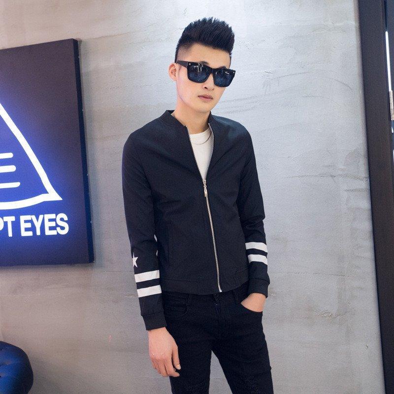 2015秋季男装新款男士3d印花网眼立领韩版休闲夹克衫修身男外套潮