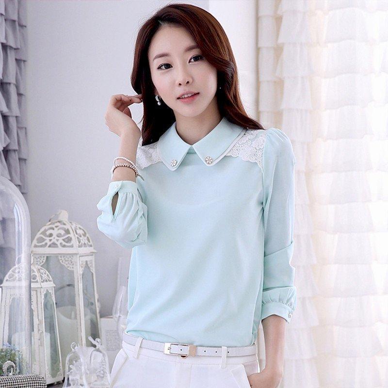 雪纺衫�z(���-�i#�(�_莎太2016春秋装新款韩版女士衬衫女娃娃领修身雪纺衫女长袖蓝色上衣有
