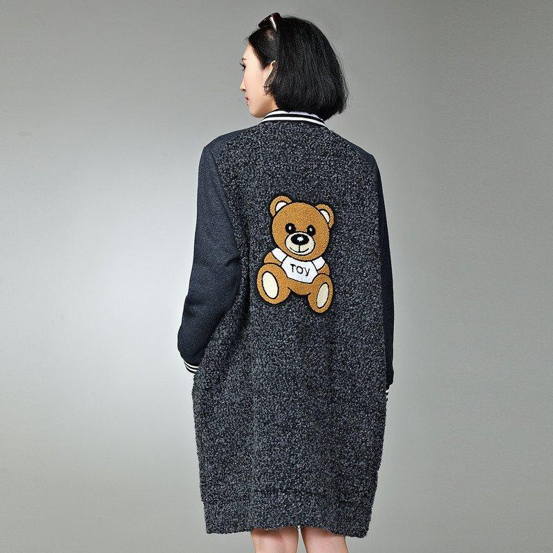 胖mm加肥加大特大号码女装胖人衣服韩版冬装卡通小熊可爱长款外套